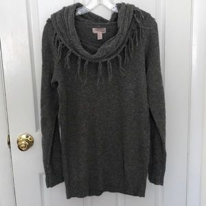 Forever 21 long grey cowl neck sweater